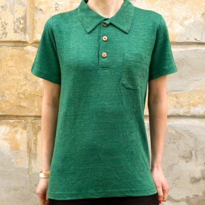 Damska koszulka Polo z konopi (zielona)