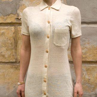 Sukienka polo z konopi w kolorze naturalnym